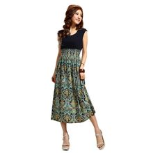Fashion Women Summer Beach Style Casual Dress New Bohemian Fashion Vintage Flower Printing Long Dresses