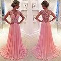 Modestos Vestidos de Fiesta Elegante Vestido de Noche Apliques de Encaje Larga Con Cuello En V Vestido de Fiesta 2017 Vestidos de Fiesta de Gasa Opacidad Vestidos de Baile