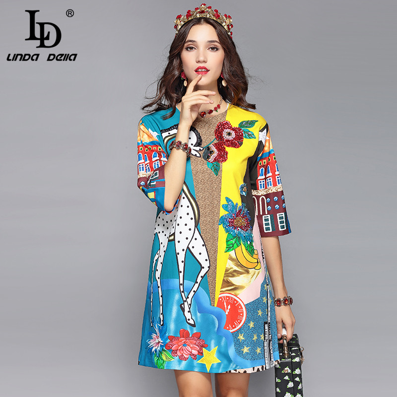 LD LINDA DELLA Piste Designer Robe D'été Femmes de Demi De Douille de Luxe Sequin Animaux Imprimer Casual Lâche Élégante Robe Robes