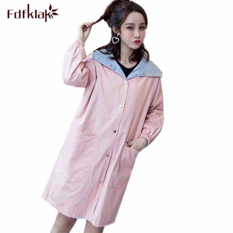 6a9a7d71a7fbc Fdfklak Plus size clothes for pregnant women both sides wear jacket autumn  winter trench coat windbreaker