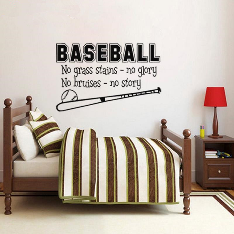Wonderful Free Shipping Sports Baseball Wall Decal Boys Room Decor Childrens Decor  Vinyl Wall Art Vinyl Lettering Wall Quotes Size41*71cm In Wall Stickers  From Home ...