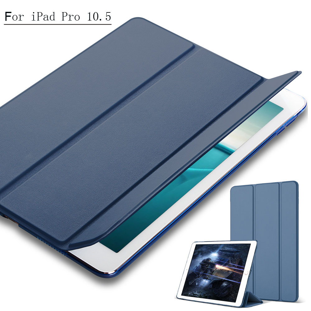 For iPad 10.5 case, Magnetic Ultra thin Smart Cover Front Leather with PC Hard back case for New 2017 iPad 10.5 inch 10 Colors redlai ultra thin magnetic front pu