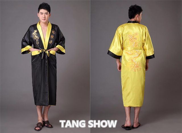 dd19cf677e Online Shop Black Navy Blue Reversible Men s Kimono Gown Chinese ...