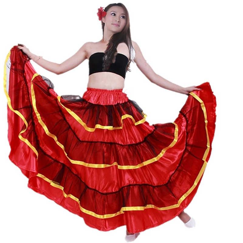 d94b670233ad ... Spanish Bullfight Flamenco Skirts For Women Ballroom Belly Dance Dress  Skirt Long Red Flamenco Dresses For ...