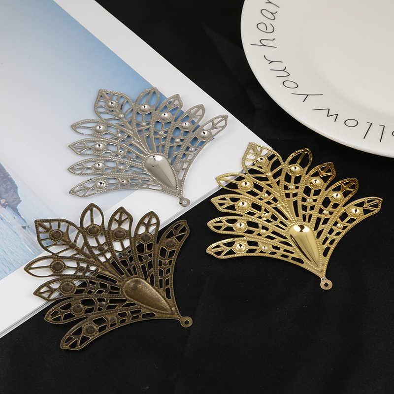 10pcs זהב/ברונזה/רודיום מצופה 75x78mm טווס צורת פיליגרן מחברים מתכת מחבר לתכשיטים ביצוע DIY אביזרים