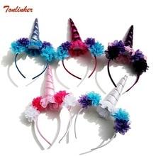 Girl Kids Unicorn Party Gold Silver Headband Flower Horn Girls Birthday Hairband Child Unicornio Accessories