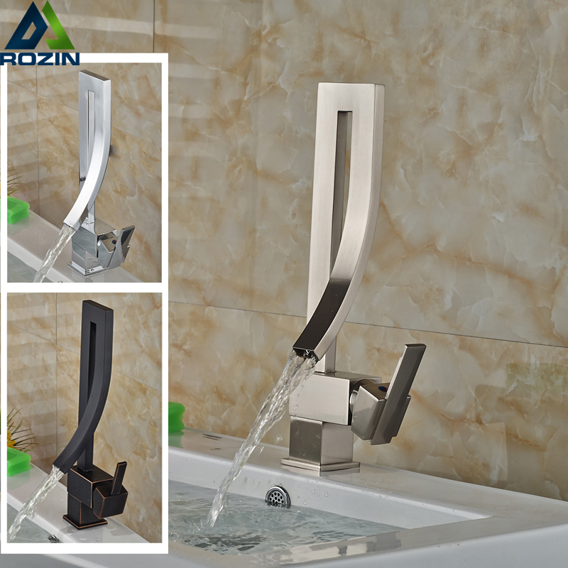 ФОТО Deck Mount Brushed Nickel Chrome Brass Basin Sink Faucet Creative Design Bathroom Mixers with Hot and Cold Water