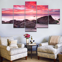 Living Room HD Printed Painting Home Decoration 5 Panel Sunset Glow Tinted The Sky Red Posters Modern Wall Art Pictures Frame2