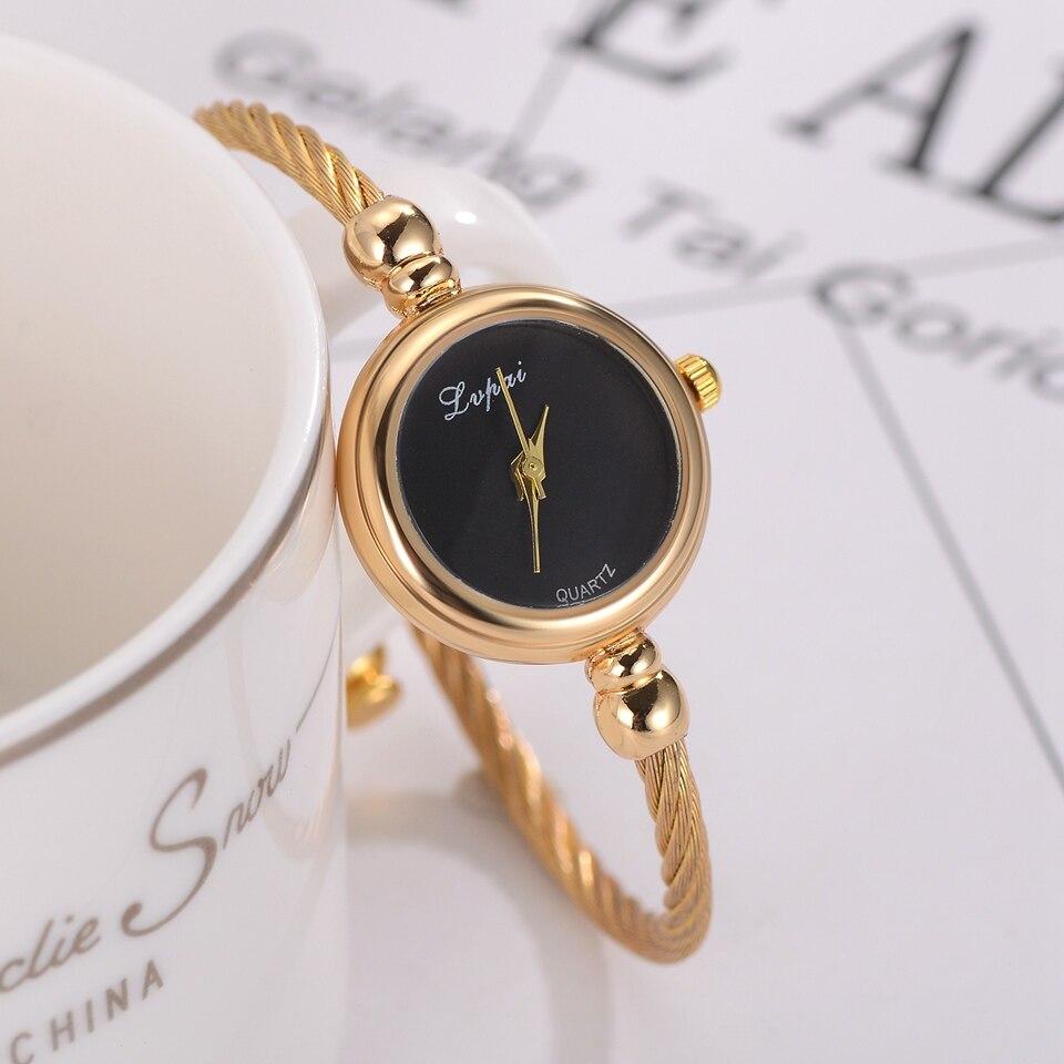 Lvpai бренд роскошный золотой браслет Кварцевые часы для женщин Мода черный циферблат платье часы повседневное женские наручные часы 2019 Relogio