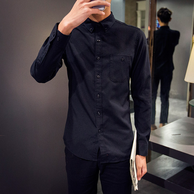 New arrival 2016 autumn solid color long sleeve shirt men sim fit oxford casual men shirts chemise homme men's clothing /CS161