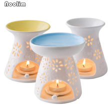 Nordic Colorful Ceramic Aroma Oil Lamp Hollowing Candle Aromatherapy Furnace Oil Furnace Incense Burners Home Decor(China)