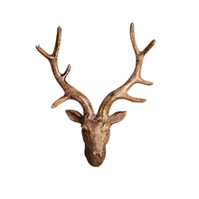 European Resin Deer Head Statue Crafts Animal Ornament Shelf Rack Stand Figurines Home Decor Living Room Birthday Gift