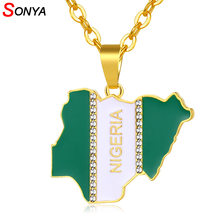 SONYA Nigeria Map Flag Crystal Pendant Necklaces For Women Men Silver/Gold Color Nigerian Jewelry Patriotic Gift Bijoux Femme(China)