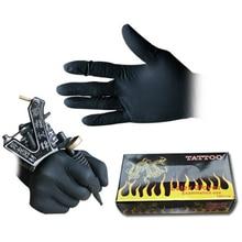 قفازات وشم من اللاتكس الأسود مقاس 100 قطعة S M L للاستخدام مرة واحدة مقاومة للماء غير سامة قفازات للوشم ملحقات واقيات للأصابع