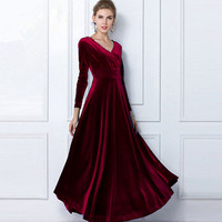JAPPKBH Autumn Winter Dress Women 2018 Casual Vintage Velvet Dress Long Sleeve Plus Size Elegant Sexy Long Party Dress ukraine