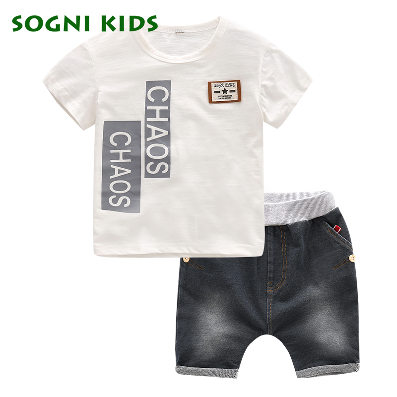 SOGNI KIDS Summer 2017 children clothing fashion set 100 cotton t shirt shorts sports casual clothing