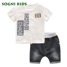 SOGNI ENFANTS D'été 2017 enfants vêtements de mode ensemble 100% coton t-shirt + shorts de sport occasionnels vêtements ensembles pour enfants garçons