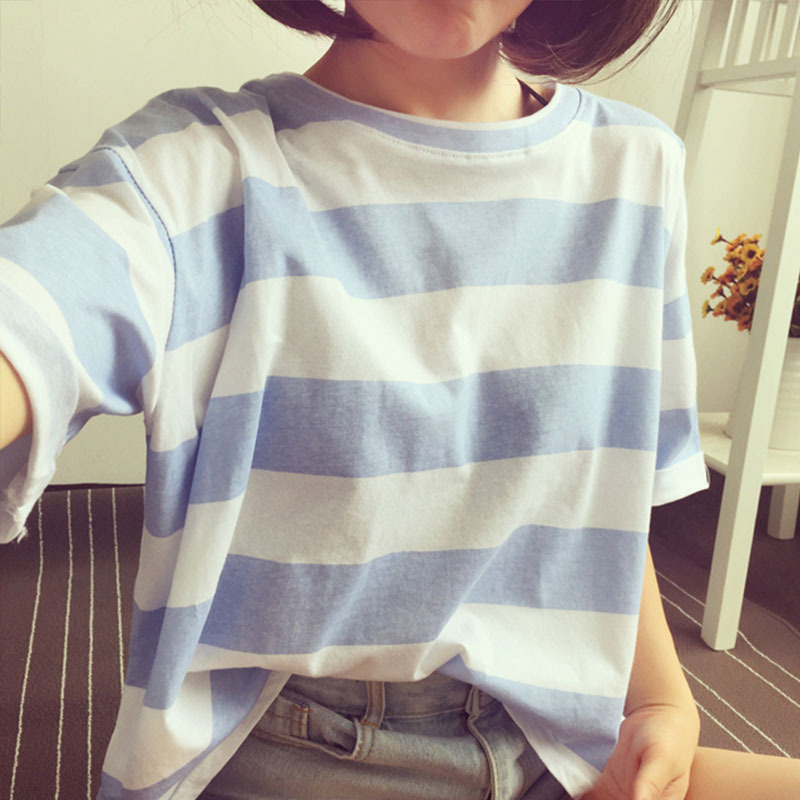 U-SWEAR Tee Shirts Woman 2019 Spring New Korean Harajuku Striped O-Neck T-shirt for Women Long Sleeve T-shirts Casual Tops