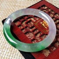 100 Natural Burmese Stone Violet Green Purple Bracelets Appraisal Certificate Gift Box