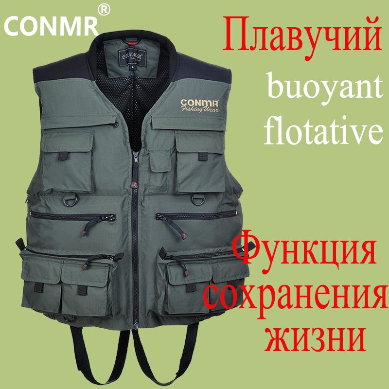 CONMR EVA Floating Fishing Vest Waterproof Multi-Function Life Saving Waistcoats Men Outdoor Hunting Drifting Photography Wear professional multi pocket fly fishing vest sleeveless waterproof life rescue jacket outdoor photography clothing sea wear shirts