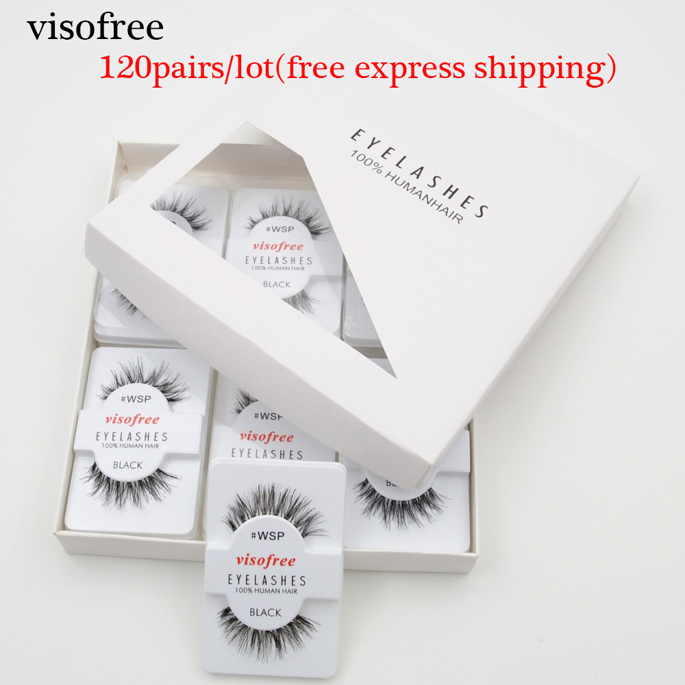 120pairs/lot Visofree Eyelashes Handmade Natural False Eyelashes Cruelty Free Fake Mink Eyelashes Long Eyelash Extension Lashes-in False Eyelashes from Beauty & Health