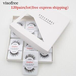 Image 1 - 120pairs/lot Visofree Eyelashes Handmade Natural False Eyelashes Cruelty Free Fake Mink Eyelashes Long Eyelash Extension Lashes