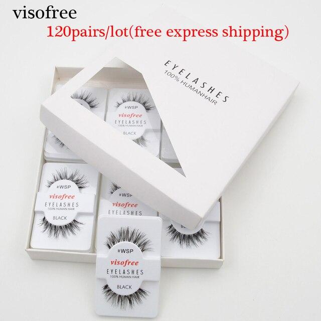 120pairs/lot Visofree Eyelashes Handmade Natural False Eyelashes Cruelty Free Fake Mink Eyelashes Long Eyelash Extension Lashes