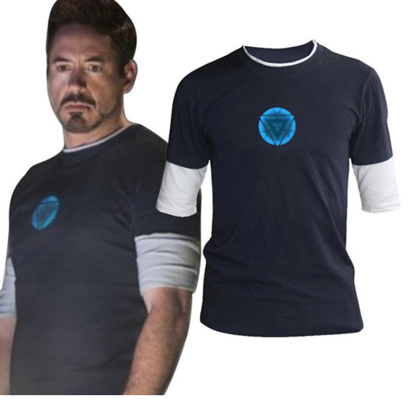 Drop shipping Iron Man T shirts For Men Short sleeve T shirts Glowing Logo Tops High quality Free shipping