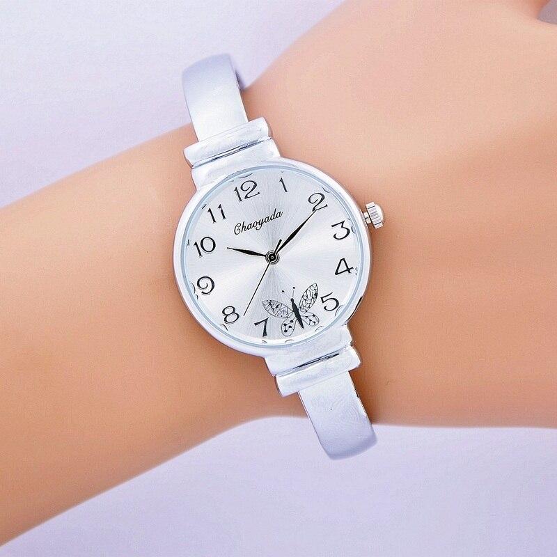 где купить Ladies Fashion Silver Watch Women Luxury Brand Quartz Wristwatch With Rhinestone Steel Bangle Clock Female Horloge по лучшей цене