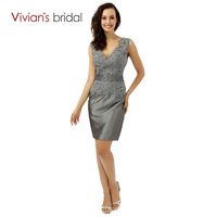 Vivian S Bridal Fashion New Mother Of The Bride Dresses Knee Length Sexy V Neck Sleeveless