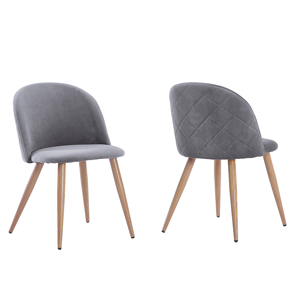 2Pcs Modern Dining Chairs Soft-clad Wood Bread Chairs Velvet Dining Chair for Kitchen Living Room Leisure Side Chairs - US Stock