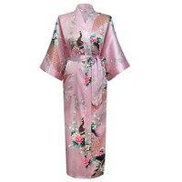 Hot Sale Pink Femmes Rayon Robes Gown Kimono Yukata Chinese Women Sexy Lingerie Flower Sleepwear Plus