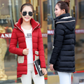 2016 Girls Down Cotton Long Winter New Slim Casual Fashion Thick Cotton Padded Jacket Winter Jacket Women Down Coat
