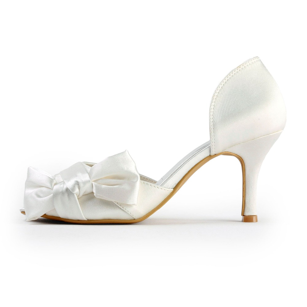 Bowtie Ep2046 D'onore ''raso Partito Damigella 3 Avorio Toe Nozze whie Sposa Ivory Donna High Heels Peep Scarpe Pumps v46wv