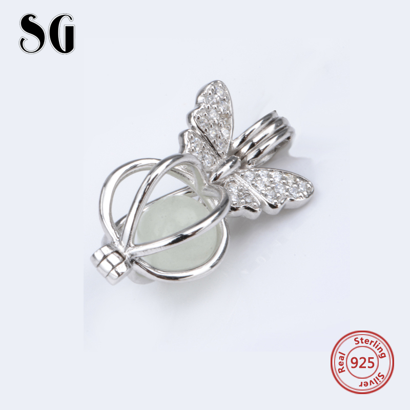 Silver 925 Original glowing Butterfly Charms Antique Fluorescence Beads Fit Authentic pandora Bracelets Pendant Jewelry Gifts in Beads from Jewelry Accessories