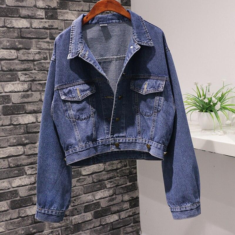 Spring Fall Vintage Short Batwing sleeve Loose Coat Women Denim   Jacket   Korean Student Jeans   Jacket   Women Casual   Basic   Denim Coat