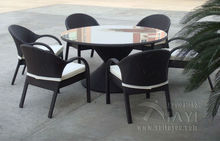 7 pcs Rattan Garden Dining Sets With Bench , Patio Table And Chairs Set transport by sea
