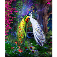New 3d Rhinestones Scenic Diy Mosaic Diamond Painting Cross Stitch Square Resin Diamond Embroidery Peacock Animal