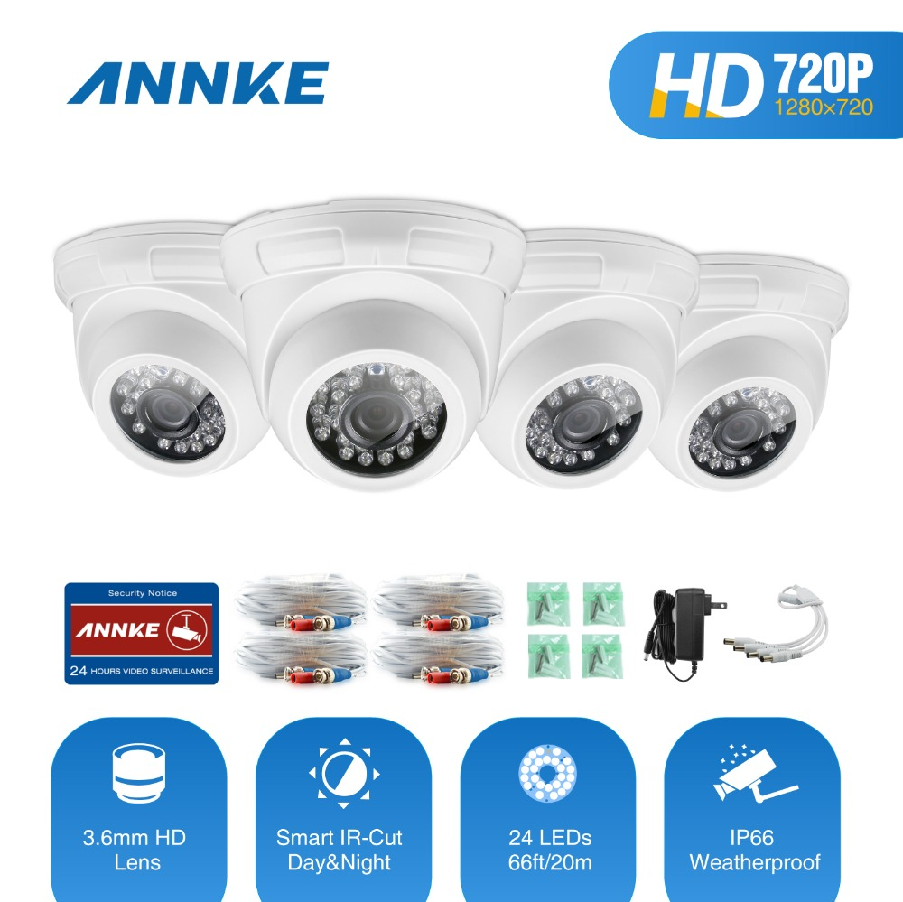 ANNKE 4 Pieces IP Camera Home Security TVI HD 720P IP66 Weatherproof Indoor/Outdoor Cameras Dome Camera CCTV WIFI Network System annke 8 channel hd 1080n video security system dvr 4 hd 960p indoor outdoor cameras with ip66 weatherproof