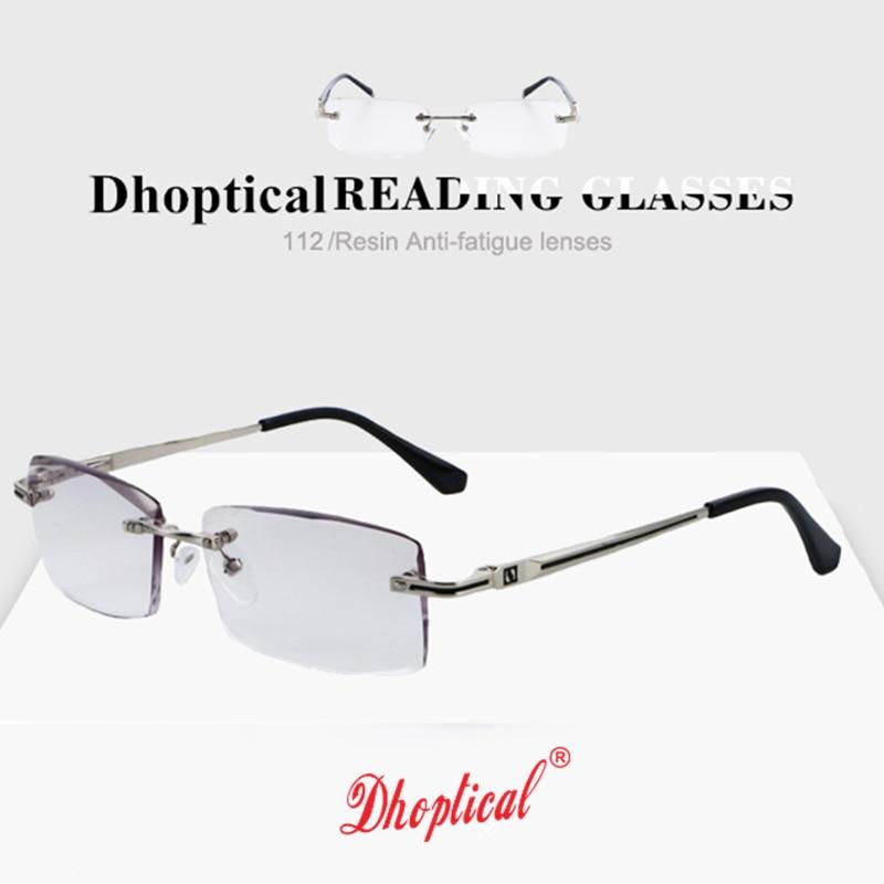 34ae30696f Image Rimless Glasses Reading Male Eyeglasses Readers Anti Fatigue Gray  Lenses Presbyopic Glasses 1.0 1.5 2.0