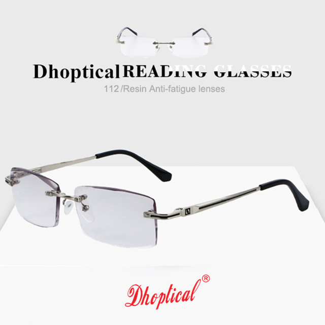 3f6b448f8bee Rimless Glasses Reading Male Eyeglasses Readers Anti Fatigue Gray Lenses  Presbyopic Glasses 1.0 1.5 2.0 2.5 3.0 Diopter 112