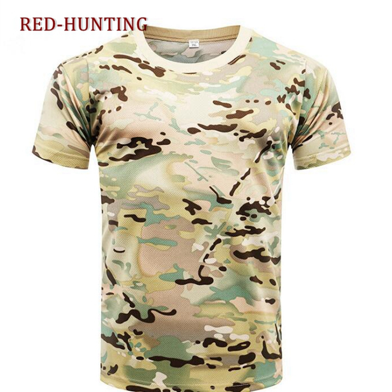 Quick Dry Short Sleeve Camo Clothing O Neck T Shirt Summer Military Camouflage T-shirt Men Tactical Army Combat