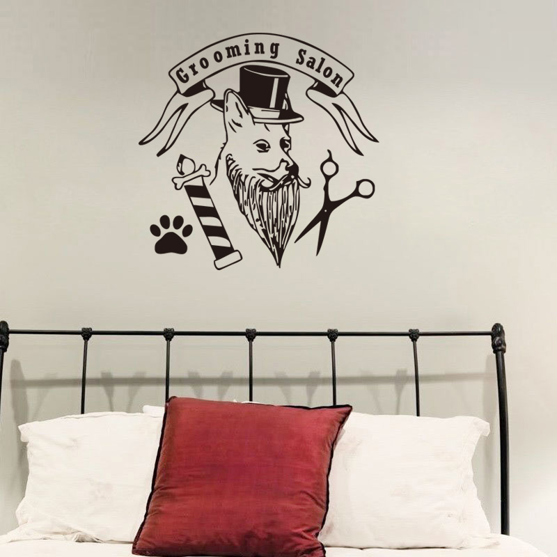 Fashion Pet Grooming Salon Wall Sticker Dog With Hat Paw Scissors Funny Decals For Pet shop Home Decor