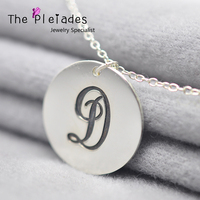 Solid Silver Mini Disc Necklace Custom Name Two Initials Engraved Personalized Coin Necklace Special Couple Memory