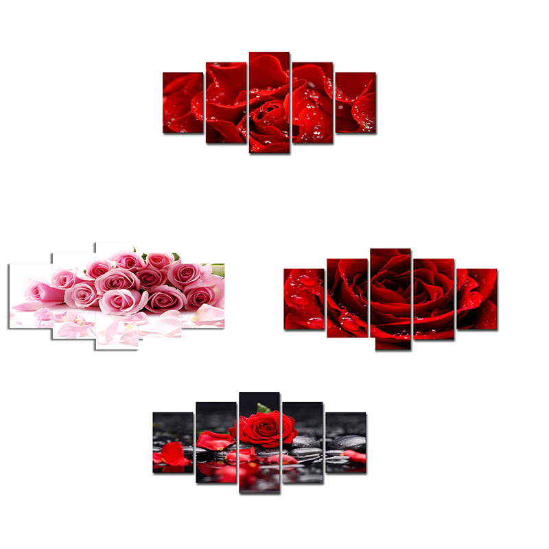 5pcs set mosaic full diamond painting of rose in livingroom diamond painting full square in Diamond