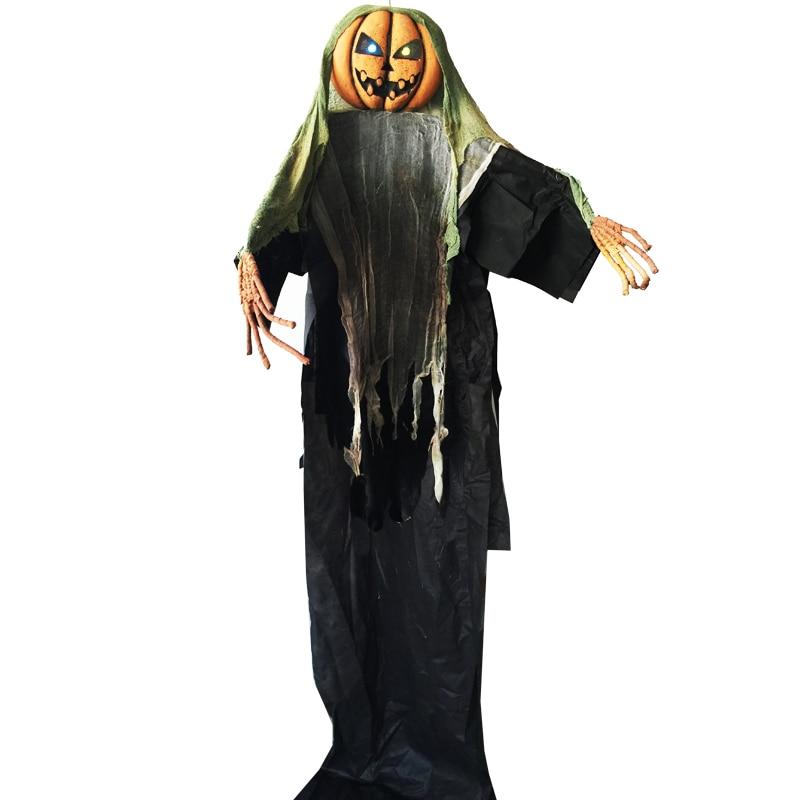 Halloween 3 Mètres Géant Fantasmagorique Suspendus Épouvantail Citrouille Homme avec La Lumière up Yeux pour Halloween Décorations