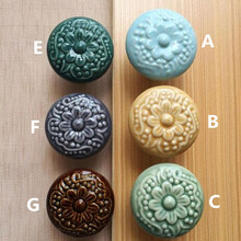 creative retro flower ceramic drawer cabinet knobs pulls bronze blue porcelain kitchen cabinet dresser door handles