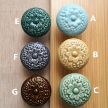 creative retro flower ceramic drawer cabinet knobs pulls bronze blue porcelain kitchen cabinet dresser door handles knobs