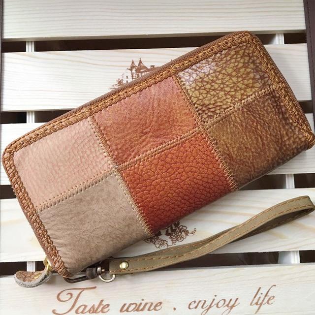 Unisexe en cuir véritable Vintage portefeuilles couleur Patchwork longue journée embrayages sac à main poignet main téléphone portable sacs P30