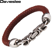 Mens Brown Leather Bracelet Braided Rope Wristband W Stainless Steel Byzantine Link About 8 66inch LBW85